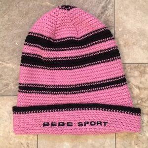 Bebe Sport Pink & Black Knit Winter Fashion Beanie